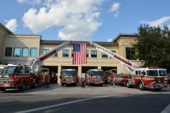 Firetrucks lined up outside the Winter Park Fire-Rescue station.