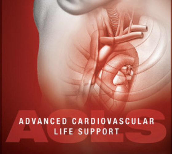 Medical rendering of a human heart with overlaying text that reads ACLS - Advanced Cardiovascular Life Support