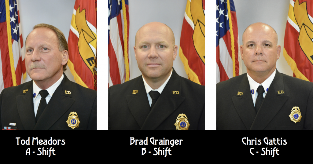 EMS Captains Tod Meadors A - Shift, Brad Grainger B - Shift, and Chris Gattis C - Shift Class A head shots.