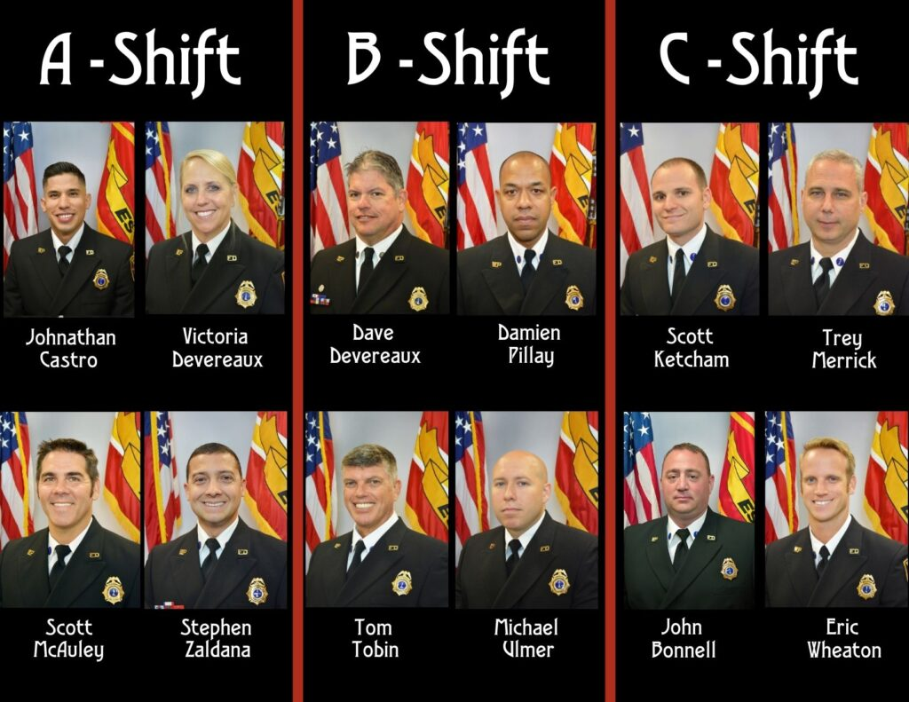 Group of firefighter lieutenants' Class A headshots separated by a, b and c shift.